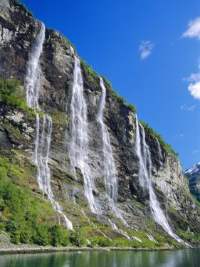 Seven Sisters Falls as Seen from Ferry, Geiranger Fjord, Norway, Europe by Anthony Waltham