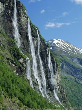 Seven Sisters Falls, Geiranger Fjord, Western Fjordlands, Norway, Scandinavia, Europe by Anthony Waltham