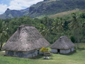 Traditional Houses, Bures, in the Last Old-Style Village, Fiji, South Pacific Islands by Anthony Waltham