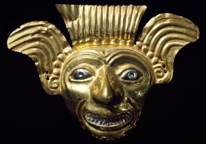 Anthropomorphic Gold Mask Originating from La Tolita