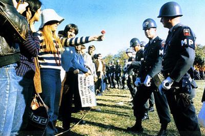 Anti-Vietnam Demonstration (Girl Giving Police Flower) Plastic Sign