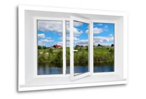 White Plastic Triple Door Window with Trunquil View Through Glass by AntiKsu