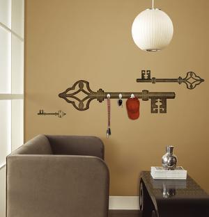 Antique Key Peel & Stick Wall Decal w/Hooks
