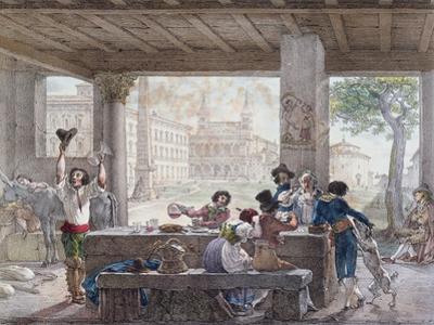 Inn in Rome, Engraved by Francois Alexandre Villain (1798-1884) C.1820-30