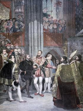 Charles I and Charles Quint in the Basilica of Saint Denis, Paris, 1893 by Antoine-Jean Gros