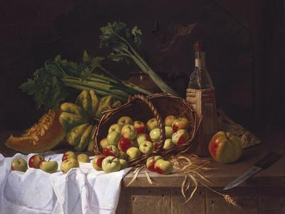 Still Life with a Bottle of Wine, Rhubarb and an Upturned Basket of Apples on a Table