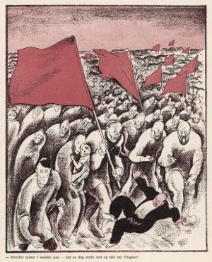 The Advance of Socialism: a Crowd Tramples a Bourgeois by Anton Hansen