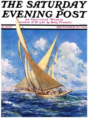 """America's Cup Race,"" Saturday Evening Post Cover, September 20, 1930 by Anton Otto Fischer"