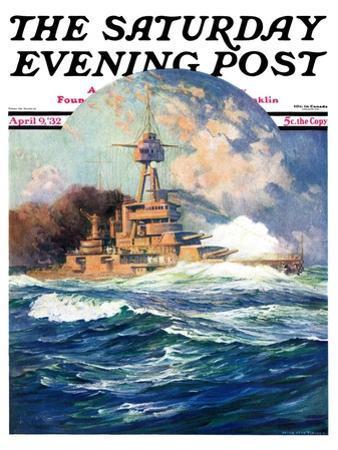 """Battleship at Sea,"" Saturday Evening Post Cover, April 9, 1932"