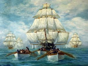 Chase Of The USS Constitution by Anton Otto Fischer
