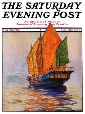 """""""Chinese Junk,"""" Saturday Evening Post Cover, May 30, 1931 by Anton Otto Fischer"""