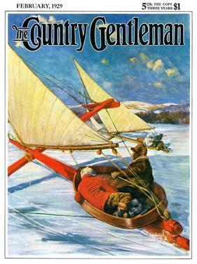 """""""Ice Boating,"""" Country Gentleman Cover, February 1, 1929 by Anton Otto Fischer"""