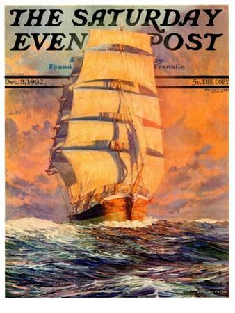 """""""Red Sky at Morning,"""" Saturday Evening Post Cover, December 3, 1932"""