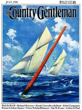 """""""Sailboat Race,"""" Country Gentleman Cover, July 1, 1928 by Anton Otto Fischer"""