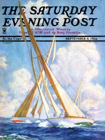 """Sailboat Regatta,"" Saturday Evening Post Cover, September 8, 1934"