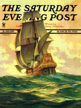 """Spanish Galleon,"" Saturday Evening Post Cover, March 30, 1935 by Anton Otto Fischer"
