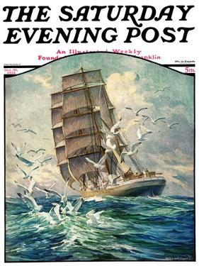 """""""Storm at Sea,"""" Saturday Evening Post Cover, October 31, 1931 by Anton Otto Fischer"""