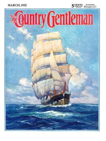 """""""Three Masted Schooner,"""" Country Gentleman Cover, March 1, 1932"""
