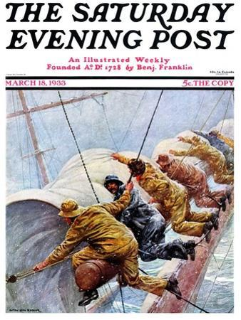 """""""Trim the Sails!,"""" Saturday Evening Post Cover, March 18, 1933"""