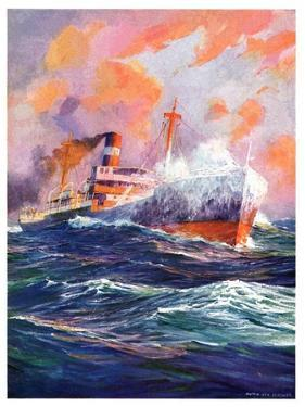 """""""Wave Breaks over Steamer,""""March 21, 1936 by Anton Otto Fischer"""