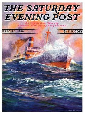 """""""Wave Breaks over Steamer,"""" Saturday Evening Post Cover, March 21, 1936 by Anton Otto Fischer"""