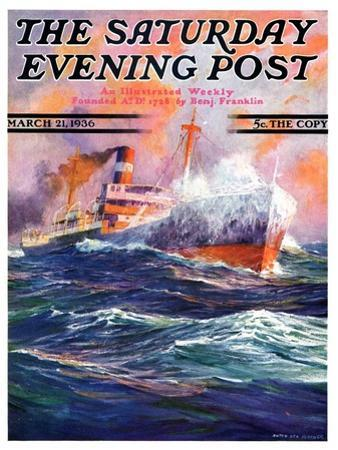 """""""Wave Breaks over Steamer,"""" Saturday Evening Post Cover, March 21, 1936"""