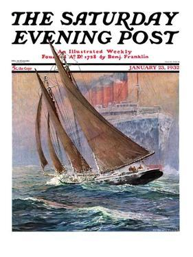 """""""Yacht and Steamship,"""" Saturday Evening Post Cover, January 23, 1932 by Anton Otto Fischer"""