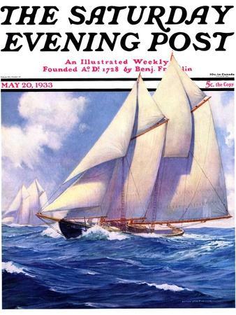 """""""Yachts at Sea,"""" Saturday Evening Post Cover, May 20, 1933"""