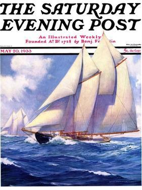 """""""Yachts at Sea,"""" Saturday Evening Post Cover, May 20, 1933 by Anton Otto Fischer"""