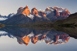 Majestic Mountain Landscape. Reflection of Mountains in the Lake. National Park Torres Del Paine, C by Anton Petrus