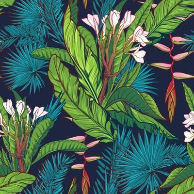 Tropical Jungle Seamless Pattern on Dark Blue Background by Anton V Tokarev