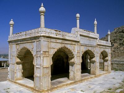 Kabul, Marble Pavilion in the Grounds of Babur's Garden Where His Tomb Lies in Kabul, Afghanistan
