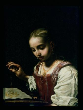 A Girl Sewing