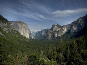Yosemite Valley and Night Sky, Yosemite Nat'l Park, UNESCO World Heritage Site, California, USA by Antonio Busiello