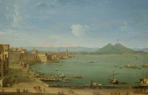 View of Naples from the Bay with Mt. Vesuvius by Antonio Joli