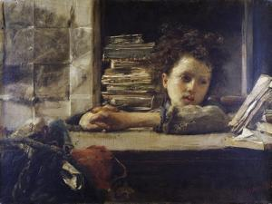 The Study, Ca 1875 by Antonio Mancini