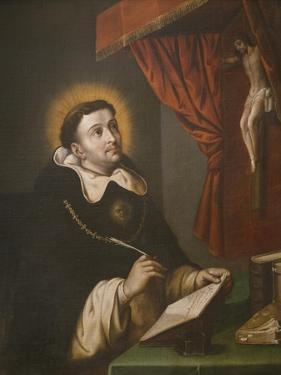 St. Thomas Aquinas Writing before the Crucifix by Antonio Rodriguez