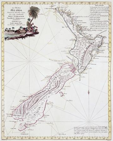 Map Of New Zealand, 1778 by Antonio Zatta