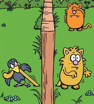 Cats and Bird - Antony Smith Learn To Speak Cat Cartoon Print by Antony Smith