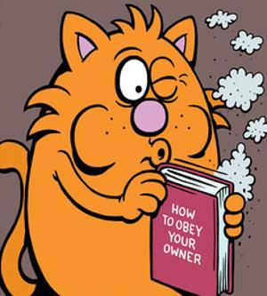 How To Obey Your Owner Manual - Antony Smith Learn To Speak Cat Cartoon Print by Antony Smith