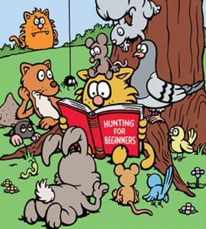 Hunting for Beginners - Antony Smith Learn To Speak Cat Cartoon Print by Antony Smith