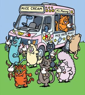 Mice Cream Van - Antony Smith Learn To Speak Cat Cartoon Print by Antony Smith