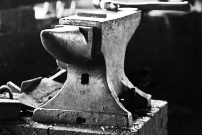 Anvil in Blacksmith Metal Workshop Black and White Photograph Poster