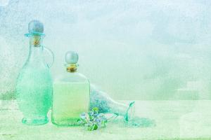 Bath Oil and Salt on a Textured Background by Anyka