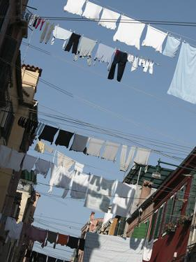 Apartment Buildings with Laundry Hanging Out to Dry on Clothes Line