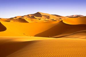 Moroccan Desert Landscape with Blue Sky. Dunes Background. by apdesign