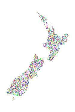 Coloured Map of New Zealand - Europe by aperitivi
