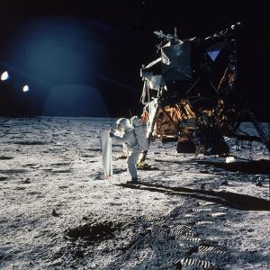 "Apollo 11 Astronaut Buzz Aldrin Unfurling ""Solar Wind Sheet"""
