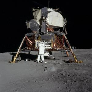 Apollo 11 Astronaut in Front of the Lunar Module