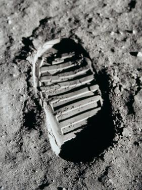 Apollo 11 Boot Print on the Moon. July 20, 1969